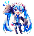 1girl :3 :d absurdly_long_hair ahoge bangs black_footwear black_skirt blue_eyes blue_hair boots chibi detached_sleeves fang frilled_shirt frilled_shirt_collar frills grey_shirt hair_between_eyes hatsune_miku heart_ahoge highres long_hair looking_at_viewer notice_lines open_mouth pleated_skirt shirayuki_towa shirt simple_background skirt sleeves_past_fingers sleeves_past_wrists smile solo star thigh-highs thigh_boots very_long_hair vocaloid white_background