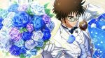 1boy black_neckwear blue-tinted_eyewear blue_flower blue_rose bouquet brown_eyes brown_hair collared_shirt dress_shirt flower gloves guvava holding holding_bouquet jacket long_sleeves looking_at_viewer macross macross_7 male_focus nekki_basara official_art open_clothes open_jacket peas purple_flower purple_rose rose round_eyewear shirt solo sparkle sunglasses white_flower white_gloves white_jacket white_rose white_shirt wing_collar