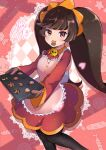 1girl ashley_(warioware) baking_sheet black_legwear brown_eyes brown_hair checkerboard_cookie cookie cute dress eating food herunia_kokuoji highres intelligent_systems loli long_hair long_sleeves mouth_hold nintendo oven_mitts pantyhose pink_background red_dress skull_brooch solo standing sweets twintails warioware wrapped_candy