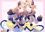 1boy 1girl animal_ears bangs belt blonde_hair blue_eyes bow claw_pose collar commentary diamond_(shape) facial_tattoo fang forehead-to-forehead frilled_shirt frills fur-trimmed_jacket fur_trim gloves hair_bow hair_ornament hairclip hand_up jacket kagamine_len kagamine_rin kashiwabara_en lion_ears neckerchief one_eye_closed open_mouth pants shirt short_hair short_ponytail siblings skirt smile spiky_hair striped striped_background swept_bangs tattoo twins upper_body vest vocaloid white_bow white_pants white_skirt