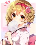 1girl alternate_hairstyle blush bow braid brown_eyes brown_hair clenched_hand commentary_request cotton_candy djeeta_(granblue_fantasy) eating floral_print flower food frilled_kimono frills granblue_fantasy hair_bow hair_flower hair_ornament hair_ribbon hairband holding holding_food japanese_clothes kimono looking_at_viewer nameneko_(124) notice_lines obi pink_flower purple_bow red_ribbon ribbon sash solo upper_body white_flower