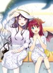 2girls :d ;d animal bag blurry blurry_foreground blush brown_wings collarbone commentary_request crescent crescent_hair_ornament curled_horns demon_girl demon_horns demon_wings depth_of_field dolphin dress earrings fang feet_out_of_frame fingernails floral_print gundou_mirei hair_ornament hand_on_lap hands_up hat heterochromia highres horns jewelry long_hair long_sleeves multiple_girls myusha nail_polish nijisanji one_eye_closed open_mouth pleated_skirt print_dress purple_hair purple_nails red_eyes redhead shirt short_sleeves shoulder_bag signature sitting skirt smile sun_hat two_side_up very_long_hair virtual_youtuber white_dress white_headwear white_shirt white_skirt wings yuzuki_roa