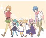 2boys 4girls aqua_eyes aqua_hair aqua_nails bangs belt blonde_hair blue_bow blue_collar blue_eyes blue_hair blue_legwear blue_nails blue_shirt blue_shorts boot_bow boots bow brown_eyes brown_hair buttons cherry_blossoms child collar collared_dress commentary dress everyone fang floral_background flower frilled_dress frills green_neckwear green_skirt hair_bow hair_ornament hairclip hatsune_miku holding_hands index_finger_raised jacket kagamine_len kagamine_rin kaito long_hair mary_janes megurine_luka meiko multiple_boys multiple_girls nail_polish neck_ribbon one_eye_closed orange_background pants parted_lips petals pink_hair pink_scarf plaid plaid_skirt purple_dress purple_neckwear red_bow red_nails red_shirt ribbon sailor_dress scarf shirt shoes short_hair short_ponytail shorts skirt smile sneakers socks spiky_hair suspender_skirt suspenders swept_bangs twintails very_long_hair vocaloid white_bow white_jacket white_shirt yellow_footwear yellow_legwear yellow_neckwear yoshiki younger