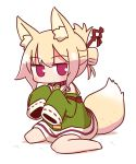1girl animal_ear_fluff animal_ears bangs barefoot blonde_hair blush closed_mouth commentary_request detached_sleeves dress eyebrows_visible_through_hair fox_ears fox_girl fox_tail full_body green_dress green_sleeves hair_between_eyes hair_bun hair_ornament highres kemomimi-chan_(naga_u) long_sleeves naga_u original red_eyes ribbon-trimmed_sleeves ribbon_trim sailor_collar sailor_dress shadow sidelocks sitting sleeveless sleeveless_dress sleeves_past_fingers sleeves_past_wrists solo tail wariza white_background white_sailor_collar