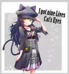 1girl absurdres acdc alternate_costume animal_ears bag black_bag black_hair blake_belladonna cat_ears cat_tail chain collarbone commentary_request dress english_text eyebrows_visible_through_hair handbag hat highres iesupa jacket long_hair looking_at_viewer rwby smile solo tail wavy_hair yellow_eyes