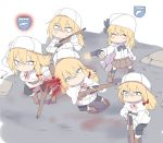 5girls blonde_hair blood blood_splatter blue_eyes bolt_action closed_eyes commissar company_of_heroes execution firing fur_hat girls_frontline gun hat headshot mosin-nagant mosin-nagant_(girls_frontline) multiple_girls nagant_m1895 nagant_revolver_(girls_frontline) rifle running scared siblings silver_bell sisters ushanka weapon