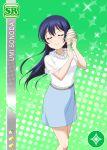 blue_hair blush character_name closed_eyes long_hair love_live!_school_idol_festival love_live!_school_idol_project shirt smile sonoda_umi