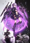 1girl dual_wielding flower flying hair_flower hair_ornament hairpin highres holding holding_sword holding_weapon long_hair looking_at_viewer mecha_musume original purple_hair science_fiction skirt solo sword t-track thigh-highs violet_eyes weapon