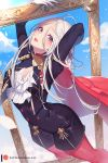 1girl breasts cape cravat edelgard_von_hresvelg fire_emblem fire_emblem:_three_houses frame gloves hair_ornament hair_ribbon long_hair looking_at_viewer nanoless pantyhose patreon_username red_cape red_legwear ribbon simple_background smile solo uniform violet_eyes white_gloves white_hair