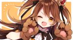 1girl ;d bangs black_neckwear blush brown_hair commentary_request crown drop_shadow earrings fang gloves hair_ribbon hazakura_chikori highres jewelry long_hair looking_at_viewer neck_ribbon notice_lines one_eye_closed open_mouth orange_background paw_gloves paws re:act ribbon shishigami_leona short_sleeves skin_fang smile solo two_side_up upper_body v-shaped_eyebrows virtual_youtuber yellow_eyes