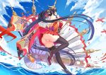 1girl ahoge ass azur_lane bangs bare_shoulders bizure: black_hair black_legwear blue_sky blush breasts clouds flight_deck floating_hair full_body geta hair_between_eyes hakama_skirt huge_breasts japanese_clothes kimono large_breasts long_hair looking_at_viewer off-shoulder_kimono open_mouth red_eyes red_kimono rigging rudder_footwear sky smile solo splashing standing standing_on_liquid taihou_(azur_lane) thigh-highs twintails very_long_hair wind