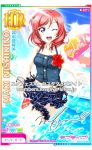 blush character_name love_live!_school_idol_festival nishikino_maki redhead short_hair smile swimsuit violet_eyes wink