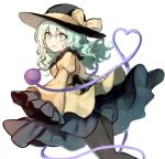 1girl bangs black_headwear black_legwear black_skirt blush bow breasts commentary_request eyebrows_visible_through_hair feet_out_of_frame frilled_shirt_collar frilled_sleeves frills fuupu green_eyes green_hair hair_between_eyes hat hat_bow heart heart_of_string highres juliet_sleeves komeiji_koishi long_hair long_sleeves looking_at_viewer medium_breasts open_mouth pantyhose puffy_sleeves shirt simple_background skirt solo third_eye touhou white_background wide_sleeves yellow_bow yellow_shirt