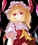 1girl absurdres ascot bangs black_background blonde_hair chikawa_shibainu collarbone commentary_request crystal flandre_scarlet frilled_shirt_collar frills hair_between_eyes hat hat_ribbon highres holding holding_stuffed_animal long_hair looking_at_viewer mob_cap one_side_up partial_commentary puffy_short_sleeves puffy_sleeves red_eyes red_ribbon red_vest ribbon shirt short_sleeves simple_background solo stuffed_animal stuffed_toy teddy_bear touhou upper_body vest white_headwear white_shirt wings yellow_neckwear