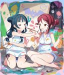 2girls :d alternate_hairstyle bangs barefoot bikini bikini_under_clothes blue_bikini_bottom blush bucket canvas_(object) collarbone commentary_request dress face_painting hair_bobbles hair_bun hair_ornament hair_scrunchie hair_up hairclip highres love_live! love_live!_sunshine!! low_twintails multiple_girls newspaper open_mouth paint_on_body paint_on_face paint_stains paint_tube paintbrush palette pink_scrunchie rassie_s redhead sakurauchi_riko scrunchie seiza shirt shirt_removed side-tie_bikini side_bun sidelocks sitting sleeveless sleeveless_dress sleeveless_shirt smile striped_bikini_bottom sweatdrop swimsuit tsushima_yoshiko twintails v-shaped_eyebrows violet_eyes white_dress white_shirt yellow_eyes