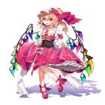 1girl ankle_ribbon blonde_hair bow commentary_request dated embellished_costume eyebrows_visible_through_hair fang fingernails flandre_scarlet full_body gunjou_row hair_between_eyes hat high_heels highres knees_together_feet_apart leg_lift lifted_by_self mob_cap open_mouth petticoat puffy_short_sleeves puffy_sleeves red_bow red_eyes red_footwear red_nails red_skirt red_vest ribbon shadow shirt short_hair short_sleeves side_ponytail sidelocks signature simple_background skirt skirt_lift slit_pupils solo standing standing_on_one_leg touhou underbust vest white_background white_headwear white_shirt wings wrist_cuffs