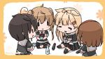 4girls ahoge alcohol black_hair black_legwear black_ribbon black_serafuku black_skirt blonde_hair bottle braid brown_hair chibi choko_(cup) closed_eyes commentary_request cup floral_background full_body hair_flaps hair_over_shoulder hair_ribbon hairband kantai_collection light_brown_hair long_hair multiple_girls murasame_(kantai_collection) neckerchief orange_hairband pleated_skirt remodel_(kantai_collection) ribbon sake sattsu scarf school_uniform serafuku shigure_(kantai_collection) shiratsuyu_(kantai_collection) short_hair single_braid sitting skirt tears tokkuri torpedo twintails white_background white_scarf yuudachi_(kantai_collection) ||_||