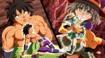 :o black_eyes black_hair black_headwear bow broly_(dragon_ball_super) brown_footwear crossover dragon_ball dragon_ball_super dragon_ball_super_broly facial_scar floral_print frilled_sleeves frills green_eyes green_hair hat hat_bow heart heart_of_string highres komeiji_koishi looking_at_another muscle ohoho open_mouth scar scar_on_cheek shirtless sitting third_eye touhou vambraces white_footwear wide_sleeves