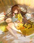 barefoot brown_eyes brown_hair candy candy_cane checkerboard_cookie clenched_hand company_name cookie dress food hayama_eishi highres hortensia_saga indoors looking_at_viewer lying macaron official_art on_bed on_side picture_book pillow puffy_sleeves sheep wrapped_candy yellow_dress