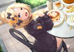 1girl :d abigail_williams_(fate/grand_order) absurdres bangs barefoot black_bow black_jacket blonde_hair blue_eyes blurry blurry_background blush_stickers bow chair crossed_bandaids cup depth_of_field disposable_cup fate/grand_order fate_(series) food fork hair_bow hair_bun hand_up head_tilt heroic_spirit_traveling_outfit highres holding holding_fork jacket kana616 long_hair long_sleeves looking_at_viewer looking_to_the_side on_chair open_mouth orange_bow pancake parted_bangs plate polka_dot polka_dot_bow sandwich sitting sleeves_past_fingers sleeves_past_wrists smile solo stack_of_pancakes stuffed_animal stuffed_toy table tea teacup teddy_bear tiered_tray twitter_username