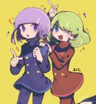 1boy 1girl blue_eyes bob_cut brother_and_sister dated double-breasted green_hair hand_on_another's_shoulder highres j_(puyopuyo) l_(puyopuyo) matching_outfit purple_hair puyopuyo puyopuyo_tetris siblings simple_background sparkle twins violet_eyes yellow_background
