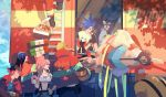 aina_ardebit belt blue_eyes blue_hair candy doughnut eating firefighter food galo_thymos gloves goggles green_hair ground_vehicle gueira highres ignis_ex jacket lio_fotia lollipop long_hair lucia_fex matoi meis_(promare) midriff motor_vehicle multiple_belts oka_(a.m.) open_mouth pastry_box pink_hair pizza pizza_box promare shorts side_ponytail smile spiky_hair suspenders thigh-highs truck varys_truss vinny_(promare) violet_eyes