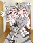 +++ 2girls :3 :d animal_ear_fluff animal_ears bare_shoulders black_bow blue_eyes blurry blurry_background boots bow carrying cat_ears cat_tail child commentary elbow_gloves extra_ears eyebrows_visible_through_hair fang fur-trimmed_gloves fur-trimmed_sleeves fur_trim fzr332211 gloves grey_hair highres kemono_friends looking_at_viewer mother_and_daughter multicolored_hair multiple_girls open_mouth pallas's_cat_(kemono_friends) pantyhose scarf shirt sleeveless sleeveless_shirt smile tail translated waving white_gloves white_hair white_legwear white_scarf yellow_eyes