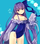 1girl :q bangs bare_shoulders beniko_(ymdbnk) blue_background blue_bow blue_eyes blue_swimsuit blush bow closed_mouth collarbone commentary_request covered_navel eyebrows_visible_through_hair fate/grand_order fate_(series) floral_background frilled_swimsuit frills groin hair_between_eyes hair_bow head_tilt highres long_hair long_sleeves looking_at_viewer meltryllis meltryllis_(swimsuit_lancer)_(fate) puffy_long_sleeves puffy_sleeves purple_hair sleeves_past_fingers sleeves_past_wrists smile solo strapless strapless_swimsuit swimsuit tongue tongue_out v-shaped_eyebrows very_long_hair