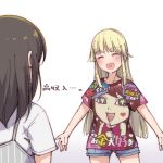 2girls ^_^ ayasaka bang_dream! bangs black_hair blonde_hair closed_eyes commentary_request denim denim_shorts facing_another heart heart_in_mouth long_hair multiple_girls okusawa_misaki outstretched_arms print_shirt shirt short_shorts short_sleeves shorts spread_arms t-shirt translated tsurumaki_kokoro white_shirt