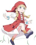 1girl blonde_hair blue_eyes blue_footwear bracelet braid closed_mouth dragon_quest dragon_quest_xi dress hat ixy jewelry long_hair outstretched_arms red_dress red_headwear shoes simple_background smile solo twin_braids veronica_(dq11) white_background