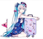 1girl anchor_print badge beamed_eighth_notes bird blue_eyes blue_footwear blue_hair blue_skirt bow double-breasted eighth_note flag gocoli hair_bow hat hat_bow hatsune_miku highres long_hair looking_at_viewer luggage musical_note polka_dot polka_dot_bow red_bow sailor_collar ship's_wheel shirt shoes short_sleeves sitting skirt smile sneakers socks solo sticker striped suspender_skirt suspenders treble_clef twintails very_long_hair vocaloid wariza white_shirt