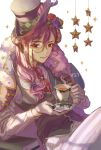 1girl bang_dream! black_vest blue_flower blue_ribbon blue_rose book brooch cape cup dated earrings flower fur_trim gloves hair_between_eyes hair_flower hair_ornament hair_over_shoulder hair_ribbon hat hat_feather horns jewelry long_hair long_sleeves looking_at_viewer low-tied_long_hair monocle neckerchief pants pare_(fdf95) purple_hair reclining red_eyes red_flower red_rose ribbon rose saucer seta_kaoru sheep_horns shirt sitting smile solo sparkle star steam tea teacup top_hat vest white_background white_gloves white_shirt yellow_flower yellow_rose