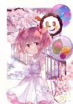 1girl balloon bangs charlotte_(madoka_magica) cherry_blossoms collarbone dated dress hair_ribbon highres kaname_madoka looking_at_viewer mahou_shoujo_madoka_magica pink_eyes pink_hair ribbon signature siren_owk smile solo soul_gem twintails