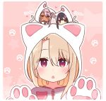 3girls :3 :o animal_ears animal_hood bangs black_hair blush brown_eyes cat_ears cat_girl cat_hood cat_tail chibi chibi_on_head chloe_von_einzbern closed_mouth collarbone commentary_request dark_skin ears_visible_through_hair eyebrows_visible_through_hair fake_animal_ears fate/kaleid_liner_prisma_illya fate_(series) gloves hair_between_eyes heart hood hood_up hooded_jacket illyasviel_von_einzbern jacket light_brown_hair long_hair miyu_edelfelt multiple_girls on_head orange_eyes parted_lips paw_background paw_gloves paws pink_hair red_eyes star tail translated upper_body white_gloves white_jacket x-ray yoru_nai