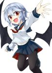 1girl :d akisome_hatsuka alternate_costume black_legwear blue_hair commentary_request fang long_sleeves looking_at_viewer neckerchief open_mouth outstretched_arm outstretched_hand pantyhose pleated_skirt pointy_ears red_eyes remilia_scarlet sailor_collar school_uniform serafuku short_hair simple_background skirt smile solo touhou white_background