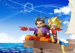 2boys :d aqua_eyes belt black_hair blonde_hair blue_pants boat boots brown_footwear brown_gloves clouds dated dragon_quest dragon_quest_builders_2 gloves happy knee_boots long_hair looking_away male_builder_(dqb2) male_focus multiple_boys nishizawa_ichiya open_mouth orange_pants pants pointing pointy_ears ponytail purple_shirt red_eyes red_footwear red_gloves red_scarf scarf shirt shoes sidoh_(dqb2) signature sitting skull_belt sky smile spiky_hair translation_request watercraft white_shirt