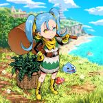 1girl alternate_color backpack bag basket beach belt blue_eyes blue_hair boots bush closed_mouth clouds dragon_quest dragon_quest_builders_2 dress earrings female_builder_(dqb2) flower fringe_trim gloves grass hair_ribbon hand_on_hip heterochromia highres hoop_earrings jewelry knee_boots leaf long_hair looking_at_viewer mushroom ocean outdoors parody ribbon scarf sky slime_(dragon_quest) smile solo sophi_ly_channel sophia_code star star-shaped_pupils symbol-shaped_pupils twintails ume_(yume_uta_da) water yellow_eyes yellow_footwear yellow_gloves yellow_ribbon yellow_scarf
