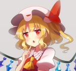 1girl 60mai ascot bangs blonde_hair blush commentary crystal eyebrows_visible_through_hair fang flandre_scarlet grey_background hand_up hat hat_ribbon index_finger_raised long_hair looking_at_viewer mob_cap one_side_up open_mouth puffy_short_sleeves puffy_sleeves red_eyes red_ribbon red_vest ribbon shirt short_sleeves sidelocks simple_background solo touhou upper_body vest white_headwear white_shirt wings yellow_neckwear