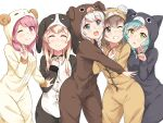 5girls :3 :d ;) =_= ^_^ animal_costume aqua_hair bandaged_ear bang_dream! bangs blonde_hair blue_eyes blush brown_hair bunny_costume cat_costume clenched_hand closed_eyes commentary_request cosplay dog_costume eyepatch far_is_a green_eyes grin hand_on_own_chest highres hikawa_hina hug kigurumi long_sleeves looking_at_viewer maruyama_aya monkey_costume multiple_girls o_o one_eye_closed open_mouth paw_pose pink_eyes pink_hair sheep_costume shirasagi_chisato short_hair side_braids simple_background smile tongue v wakamiya_eve white_background white_hair yamato_maya