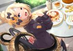 1girl :d abigail_williams_(fate/grand_order) absurdres bangs barefoot black_bow black_jacket blonde_hair blue_eyes blurry blurry_background blush_stickers bow chair commentary_request crossed_bandaids cup depth_of_field disposable_cup fate/grand_order fate_(series) food fork hair_bow hair_bun hand_up head_tilt heroic_spirit_traveling_outfit highres holding holding_fork jacket kana616 long_hair long_sleeves looking_at_viewer looking_to_the_side on_chair open_mouth orange_bow pancake parted_bangs plate polka_dot polka_dot_bow sandwich sitting sleeves_past_fingers sleeves_past_wrists smile solo spanish_commentary stack_of_pancakes stuffed_animal stuffed_toy table tea teacup teddy_bear tentacles tiered_tray twitter_username