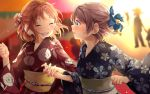 2girls :d ^_^ ahoge alternate_hairstyle bangs blue_eyes blue_kimono blue_ribbon blush clenched_hand closed_eyes commentary_request floral_print flower grey_hair hair_flower hair_ornament hair_ribbon half_updo highres japanese_clothes kanzashi kimono long_sleeves looking_at_another love_live! love_live!_sunshine!! makura_(makura0128) multiple_girls obi open_mouth red_kimono ribbon sash short_hair side_bun smile summer_festival takami_chika upper_body watanabe_you wide_sleeves