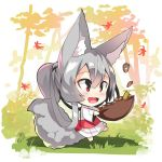1girl :d acorn animal_ear_fluff animal_ears autumn_leaves bangs barefoot blush bowl chibi commentary_request eyebrows_visible_through_hair fox_ears fox_girl fox_tail full_body grey_hair hair_between_eyes hair_rings holding holding_bowl japanese_clothes kimono long_hair long_sleeves looking_away obi open_mouth original patches pink_hair red_eyes sash sidelocks smile solo standing standing_on_one_leg tail tail_raised tree very_long_hair white_kimono wide_sleeves yuuji_(yukimimi)