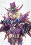1girl absurdres black_legwear blonde_hair blue_eyes blush carol_malus_dienheim claws elbow_gloves garter_straps gloves hair_between_eyes hat highres looking_at_viewer purple_gloves ribs senki_zesshou_symphogear shiny shiny_clothes shiny_hair shiny_skin short_hair skirt smile solo thigh-highs wire witch_hat zhen_long