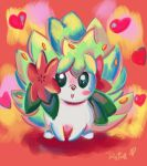 aclockworkkitten flower flower_on_head gen_4_pokemon green_eyes green_hair heart pokemon pokemon_(creature) shaymin signature speedpaint