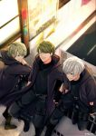 3boys a3! belt black_cloak black_footwear black_pants black_shirt blurry blurry_background boots character_request cloak closed_eyes day green_eyes green_hair highres hood hooded_cloak mag_blg male_focus mikage_hisoka multiple_boys outdoors pants shirt silver_hair smile standing thigh_pouch thigh_strap twitter_username utsuki_chikage