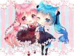 2girls :d animal_ear_fluff animal_ears bangs black_dress black_footwear black_legwear blue_bow blue_eyes blue_hair blurry blurry_background blush bow braid breasts brown_dress cat_ears cat_girl cat_tail chibi collared_dress commentary_request depth_of_field dress eyebrows_visible_through_hair hair_between_eyes hair_bow highres long_hair long_sleeves medium_breasts mirai_(happy-floral) multiple_girls one_eye_closed open_mouth original outstretched_arm pantyhose parted_lips pink_hair red_bow red_footwear shirt shoes side_braid sleeveless sleeveless_dress smile striped striped_background tail twintails vertical-striped_background vertical_stripes very_long_hair violet_eyes white_legwear white_shirt
