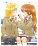 2girls bench blazer blonde_hair blue_eyes blush box brown_hair chocolate closed_eyes couple feeding flower food grass happy jacket knees looking_at_another lyrical_nanoha mahou_shoujo_lyrical_nanoha mahou_shoujo_lyrical_nanoha_a's multiple_girls neck_ribbon obentou open_mouth red_ribbon ribbon school_uniform shinozuki_takumi simple_background sitting skirt smile translated uniform violet_eyes white_background yellow_flower yuri