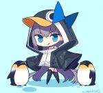 1girl :q animal animal_hood bangs bird black_jacket blue_background blue_bow blue_eyes bow chibi closed_mouth colored_shadow commentary_request eyebrows_visible_through_hair fate/grand_order fate_(series) hair_between_eyes hood hood_up hooded_jacket jacket long_hair looking_at_viewer meltryllis meltryllis_(swimsuit_lancer)_(fate) penguin penguin_hood polka_dot polka_dot_background purple_hair shadow signature smile solo standing tongue tongue_out v-shaped_eyebrows very_long_hair yuzuki_gao