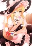 1girl apron arm_up black_skirt black_vest blonde_hair blurry braid broom commentary_request depth_of_field envelope expressionless eyebrows_visible_through_hair food hair_between_eyes hair_ribbon hat hat_ribbon heart holding holding_food hunya kirisame_marisa long_hair love_letter macaron one_eye_closed petticoat picnic_basket puffy_short_sleeves puffy_sleeves ribbon shirt short_sleeves single_braid skirt solo standing touhou tree tress_ribbon very_long_hair vest waist_apron white_shirt witch_hat yellow_eyes