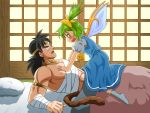 1boy 1girl abs armband ascot bandaged_arm bandages black_hair blanket blue_dress blush bow broly circlet commentary_request constricted_pupils crossover daiyousei dragon_ball dragon_ball_z dress fairy_wings futon green_hair hair_bow lying monkey_tail muscle no_shoes ohoho on_back pillow puffy_short_sleeves puffy_sleeves short_sleeves side_ponytail size_difference sliding_doors solid_circle_eyes sweatdrop tail touhou wings